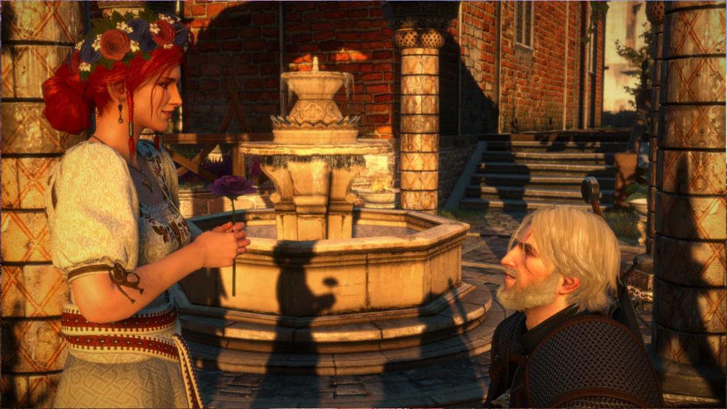 Wiedźmin 3 - Triss w kwiecistej sukni dostała kwiat od Geralta