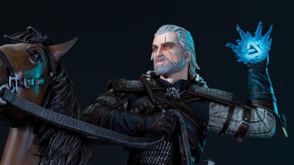 Wiedźmin 3 - zbliżenie na figurkę Geralta na Płotce ze znakiem Aard w dłoni