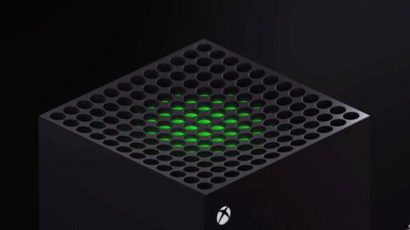 Xbox Series X - zblizenie na górną część konsoli
