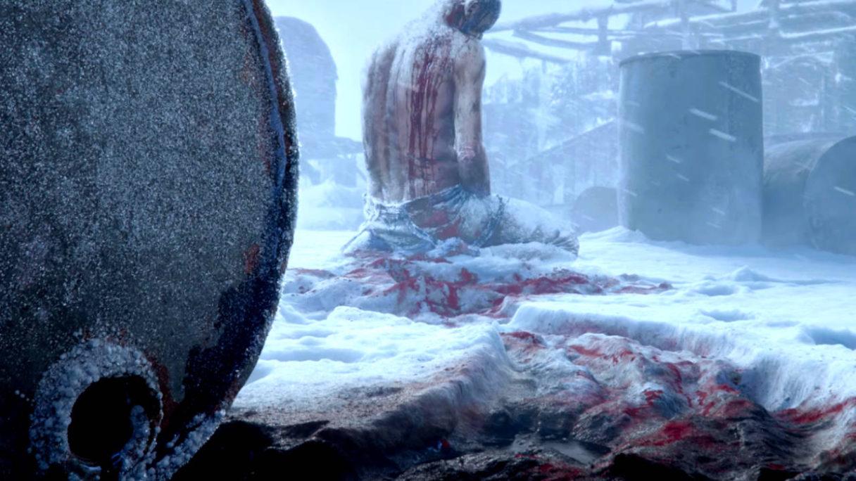 Zakrwawiony mężczyzna leży na śniegu wśród rozlanego oleju - możliwa kontynuacja Frostpunk