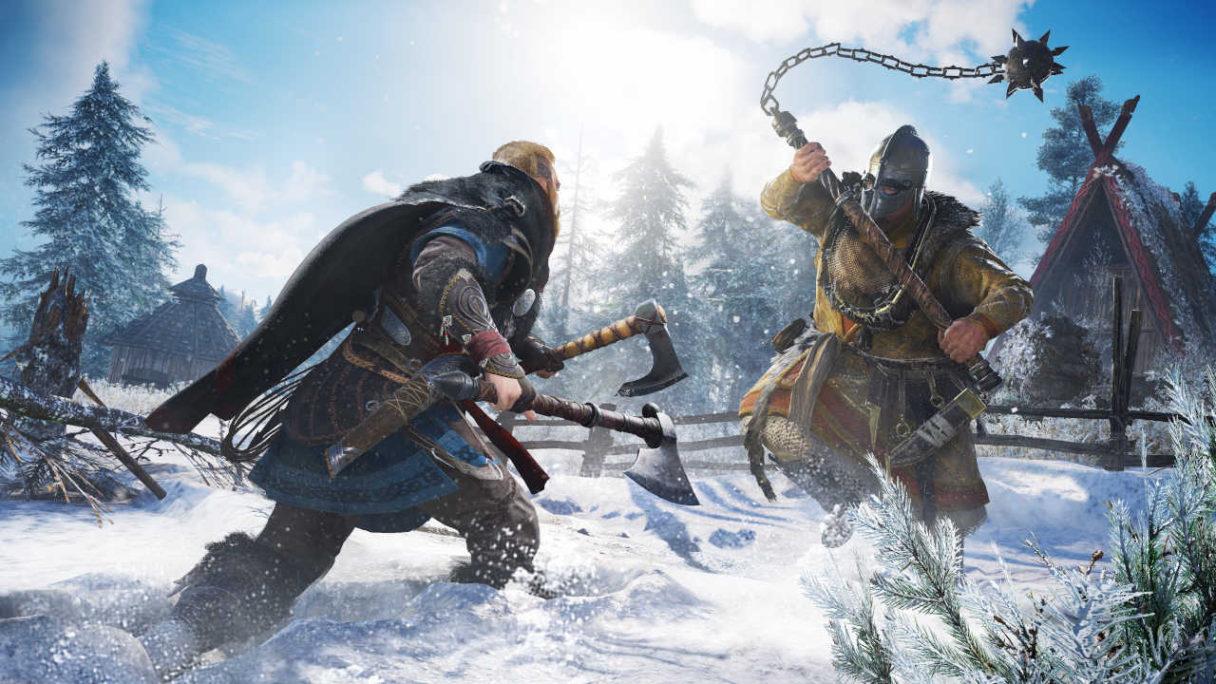Assassin's Creed Valhalla - Eivor walczy z przeciwnikiem w śniegu