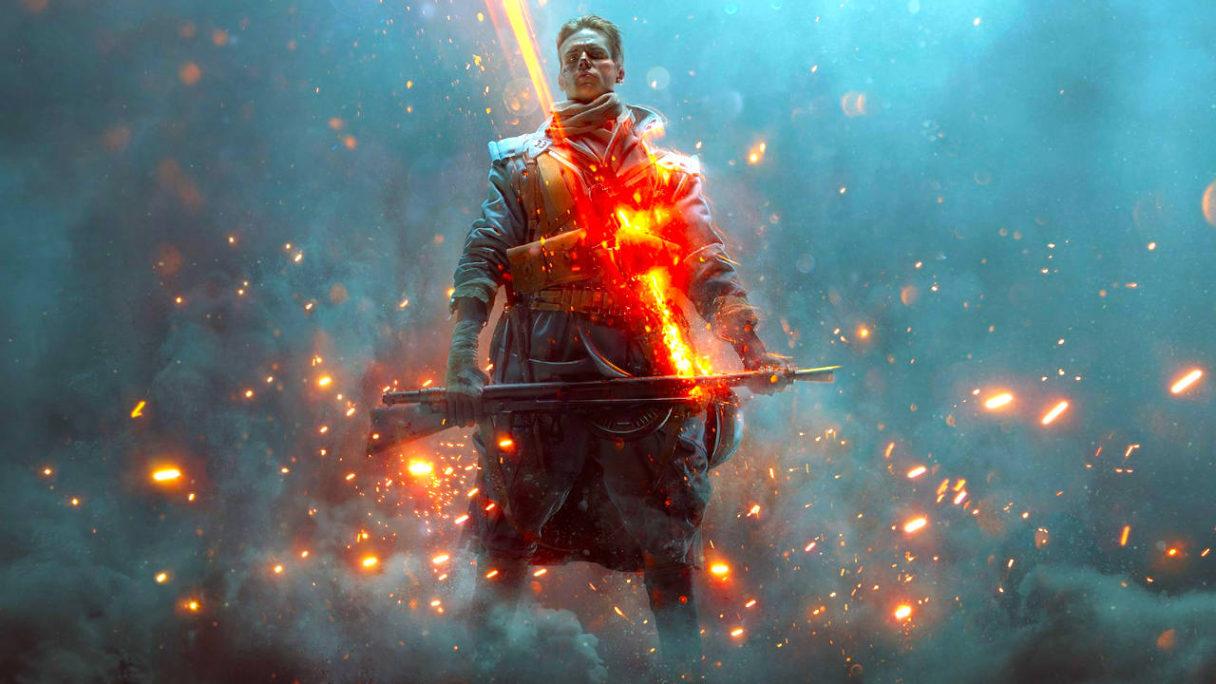 Battlefield 1 - Nie Przejdą - grafika z żołnierzem z bronią, wokół masa iskier i dymu