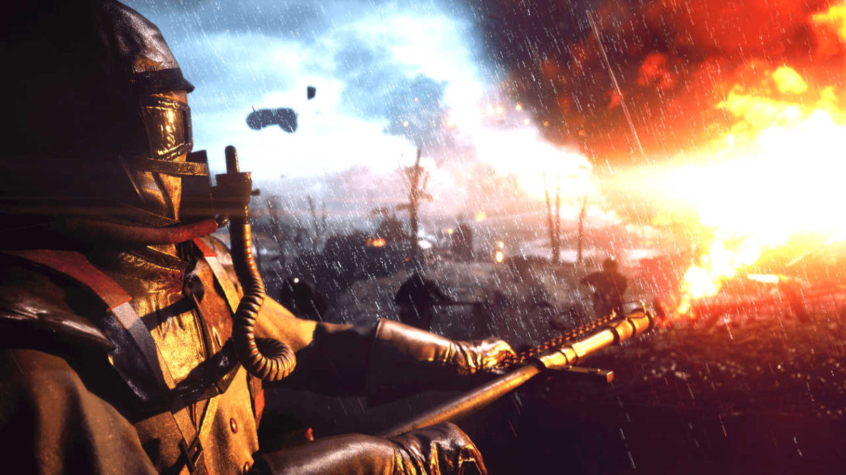 Battlefield 1 - Shortcut Kit Vehicle Bundle DLC - żołnierz podpala pole walki