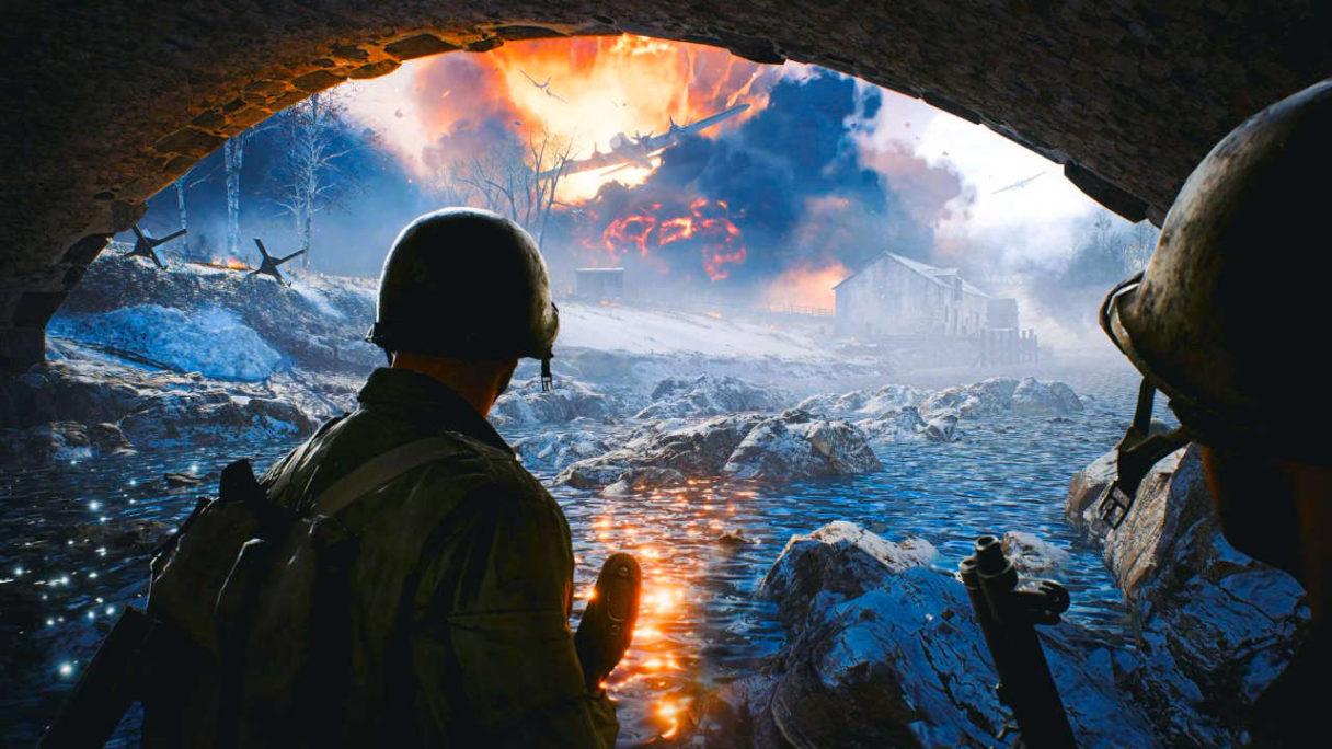 Battlefield 2042 - dwójka żołnierzy pod mostem patrzy na wybuchy