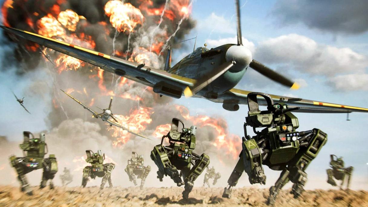Battlefield 2042 - Portal Mode - roboty Szarik i samolot uciekają przed wybuchem