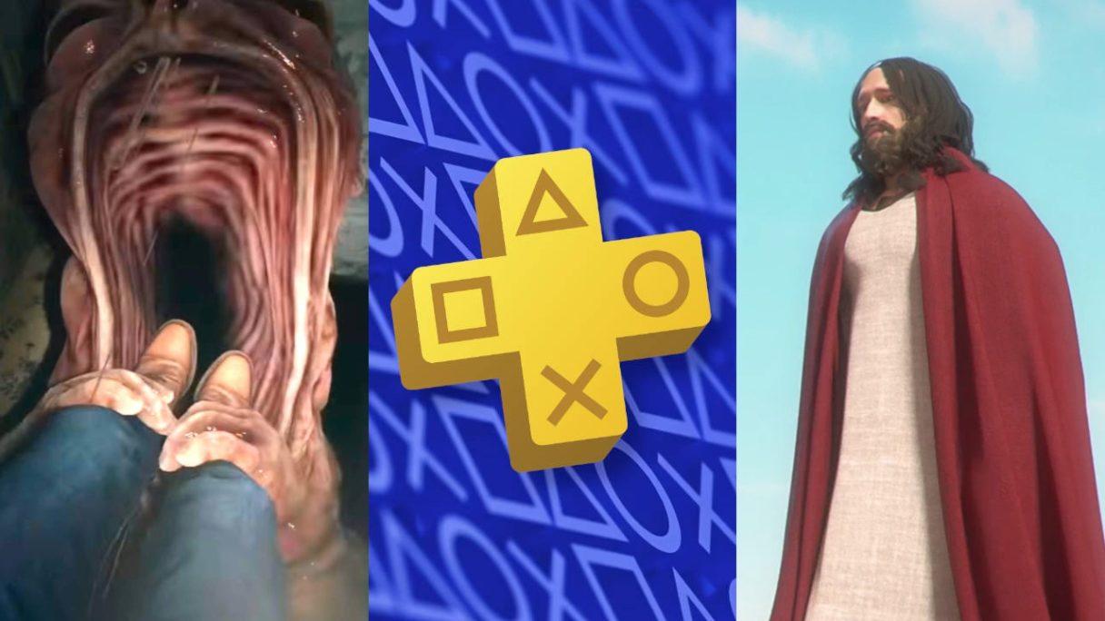 DoGRYwka - potwór z Resident Evil Village pożera gracza, logo PS Plus i Jezus Chrystus w szacie
