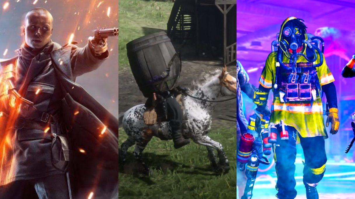 DoGRYwka - bohater z Battlefield 1, postać z Red Dead Redemption 2 z beczką na głowie jadąca na koniu i mężczyzna z pistoletem z Tom Clancy's XDefiant