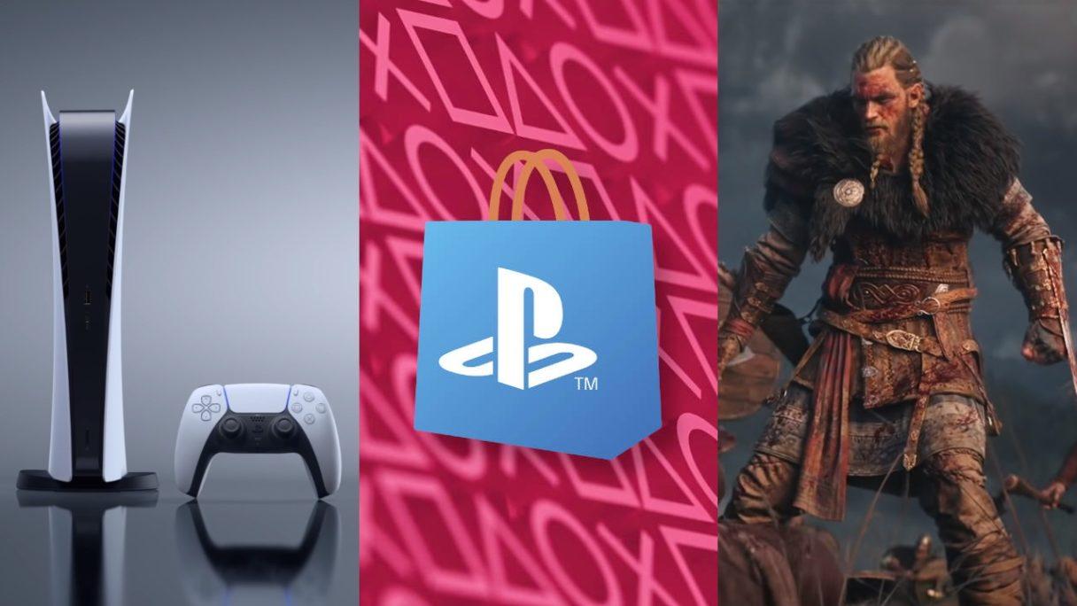 DoGRYwka - PS5 Digital, logo PS Store i Eivor z Assassin's Creed Valhalla