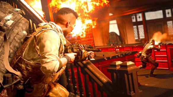 Call of Duty Warzone - strzelanina w budynku - dwójka graczy walczy w płomieniach