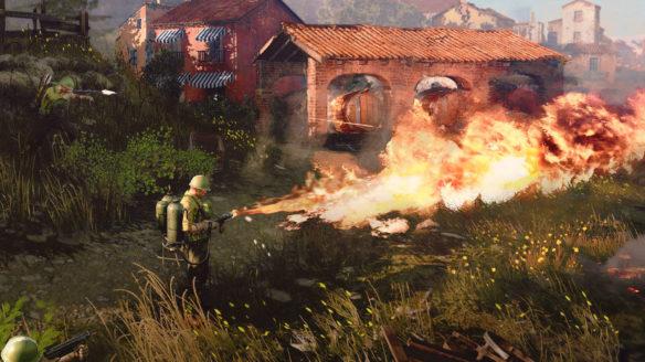 Company of Heroes 3 - żołnierze podpalają miasto