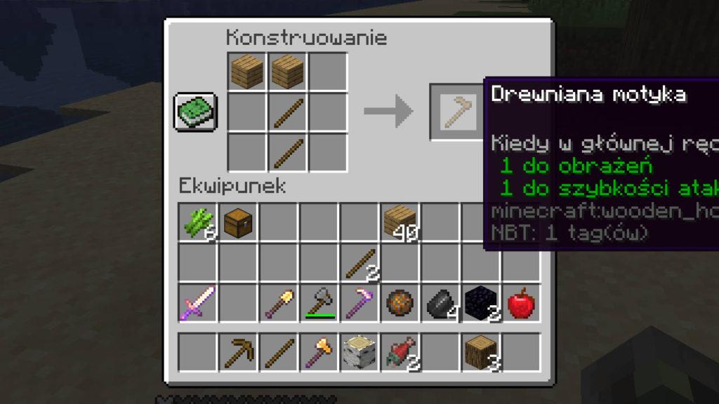 Minecraft - instrukcja wytwarzania motyki