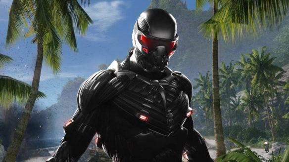 Crysis Remastered Trilogy - mężczyzna w technologicznej zbroi na tle palm