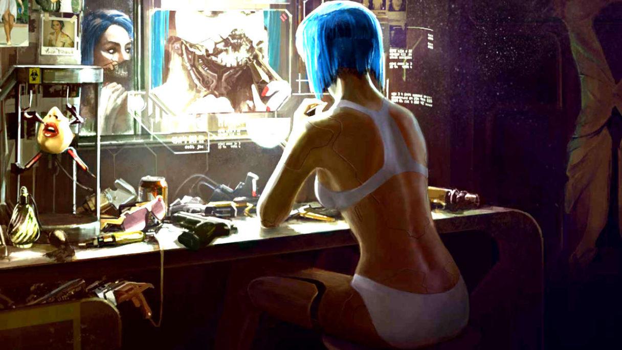 Cyberpunk 2077 - kobieta w bieliźnie grzebie w swojej cyberpunkowej dolnej szczęce
