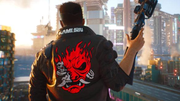 Cyberpunk 2077 - Vi w kurtce Samurai z bronią