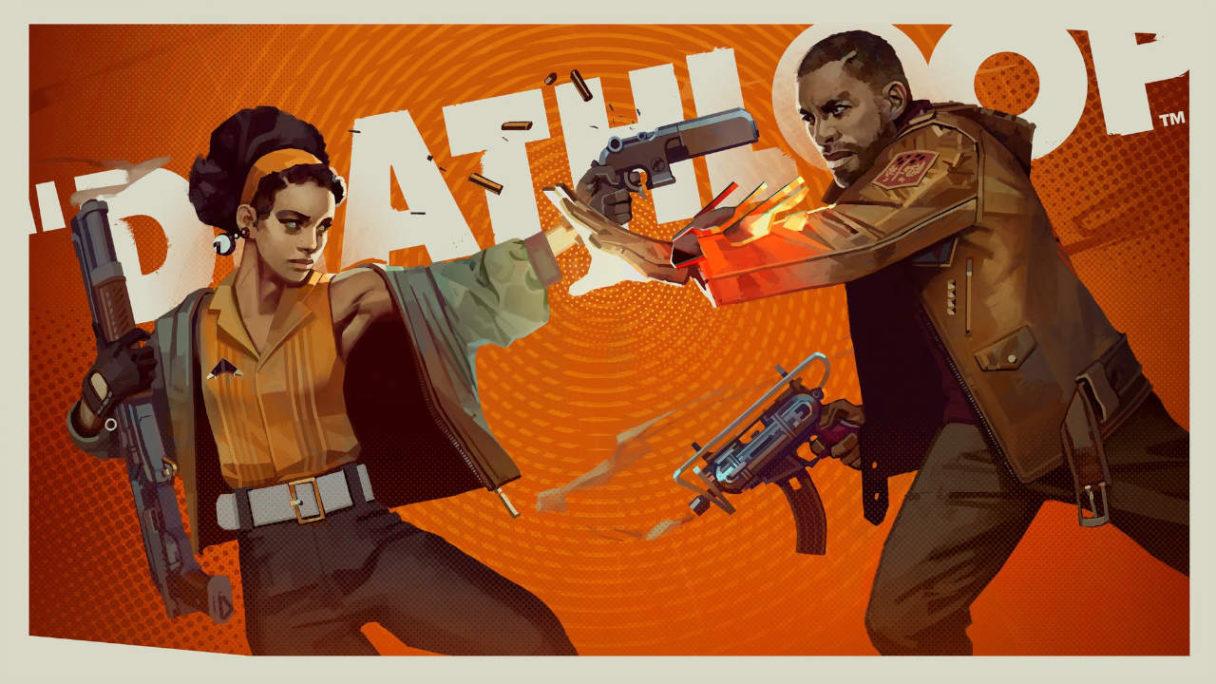 Deathloop - dwójka bohaterów strzela do siebie nawzajem