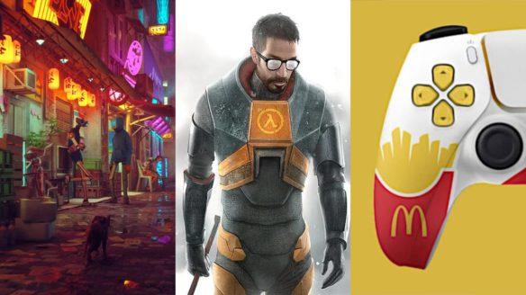 kot w cyberpunkowym świecie, Gordon Freeman z Half Life 2, DualSense z grafikami McDonald's
