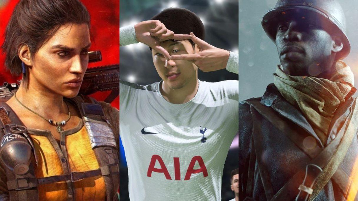 DoGRYwka - Dani z Far Cry 6, piłkarz z FIFA 22 robi zdjęcie palcami, czarnoskóry żołnierz patrzy w swoje prawo