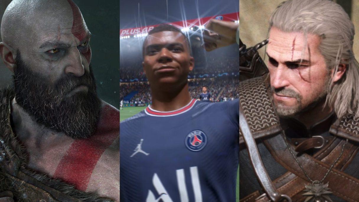 DoGRYwka - Kratos patrzy w swoje lewo, FIFA 22 - Kylian Mbappe wiwatuje i Geralt patrzy w swoje prawo