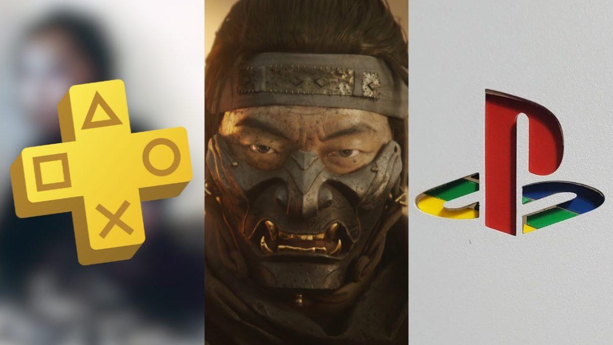 DoGRYwka - logo PS Plus, twarz samuraja w masce z Ghost of Tsushima, logo PlayStation