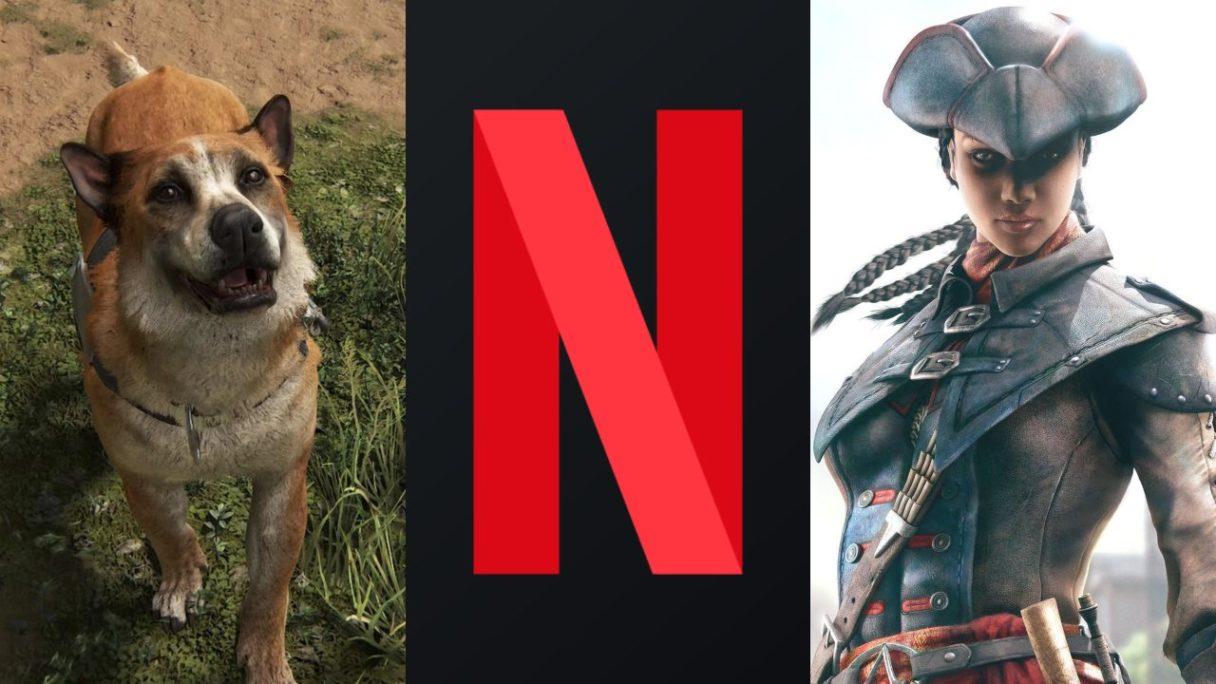 DoGRYwka - pies Bear z The Last of Us Part II, logo Netflix, kobieta z Assassin's Creed