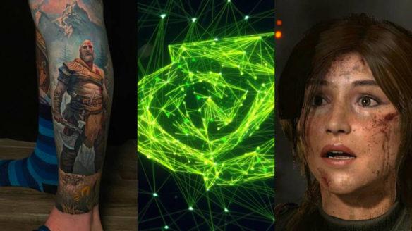 DoGRYwka - tatuaż God of War, logo nvidia, zdziwiona Lara Croft