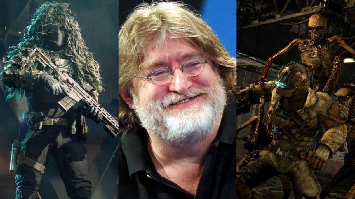 DoGRYwka - żołnierz z Battlefield 2042, Gabe Newell - właściciel Valve i Steam, szkielet atakuje bohatera Dead Space