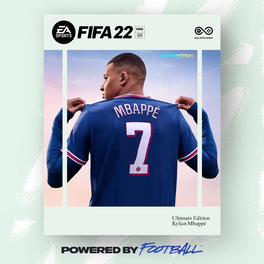 FIFA 22 - grafika przedzawiająca twarz nowej odsłony serii - Kylian Mbappe