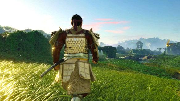 Ghost of Tsushima - Iki Island - Jin idzie przed siebie na tle malowniczej roślinności