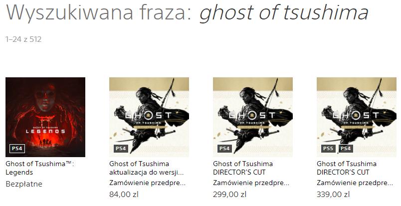 Ghost of Tsushima w PS Store - zrzut ekranu