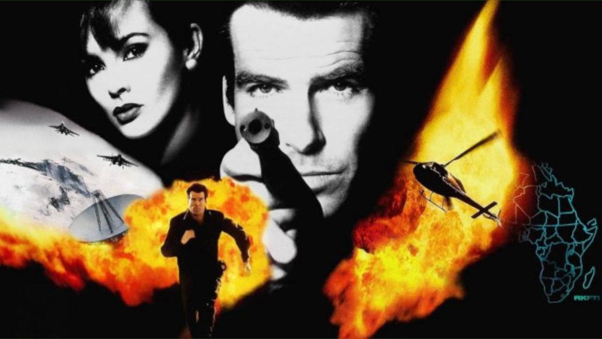 Golden Eye 007 - grafika z okładki gry z bohaterami, wybuchami i pojazdami lotniczymi