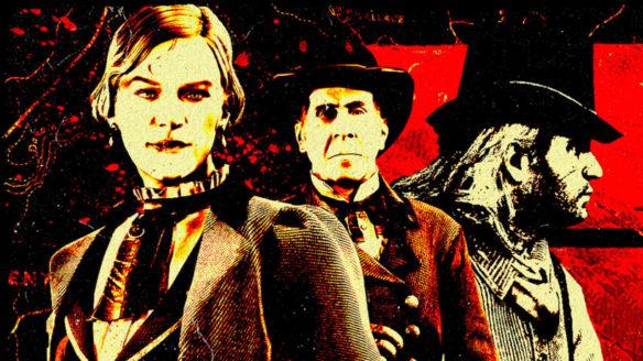 Grafika promująca dodatek Blood Money do Red Dead Online - trójka bohaterów w ładnych ubraniach