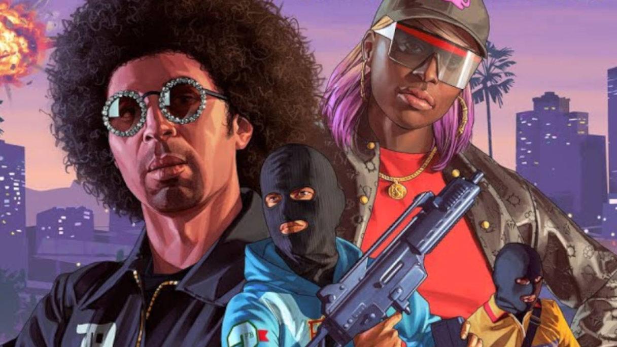 GTA V Online - grafika promująca update Los Santos Tuners - banda bandytów