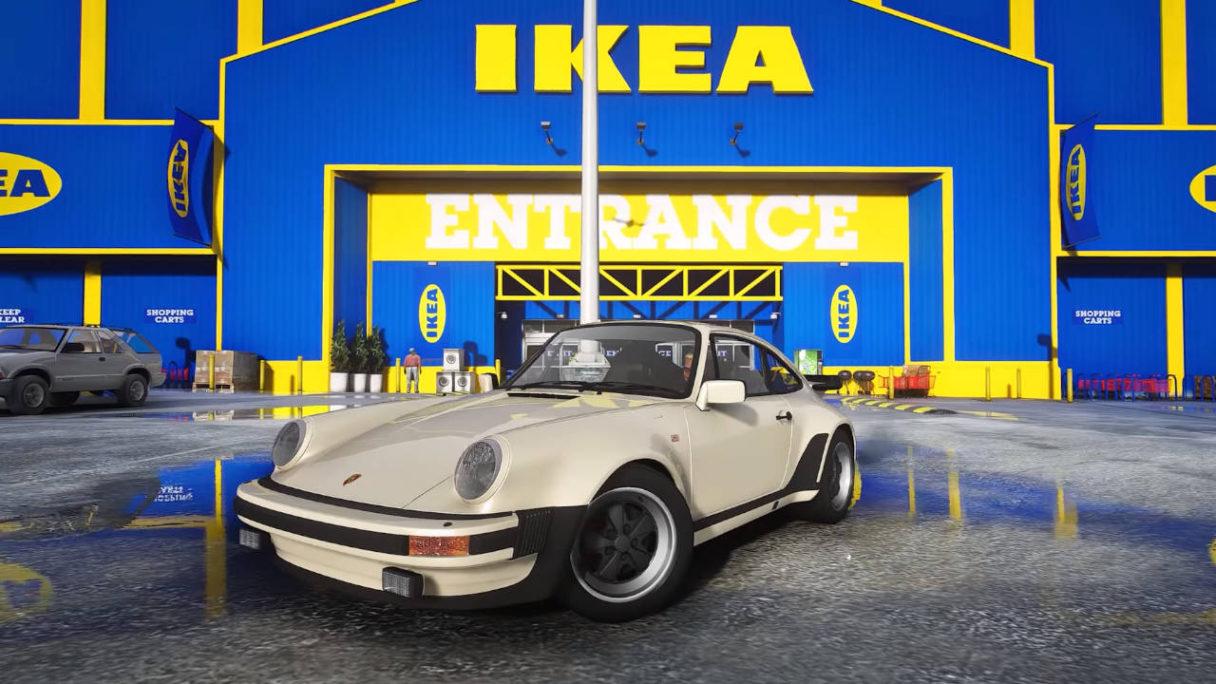 GTA V - zmodowana wersja gry - sportowy samochód na tle IKEA