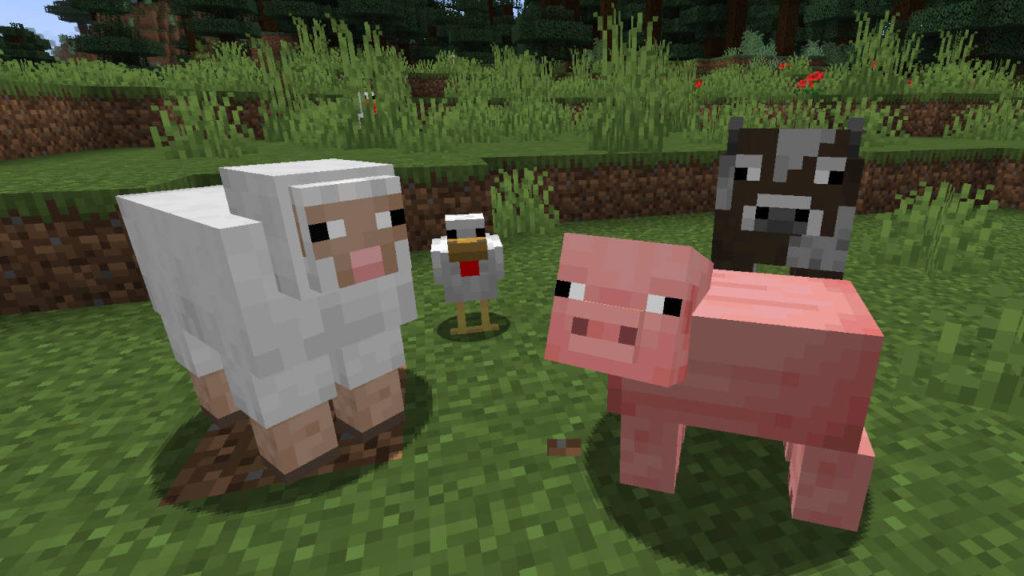 Minecraft - owca, kura, świnia, krowa