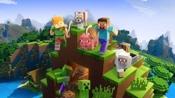 Minecraft - Steve, Alex, moby na górce