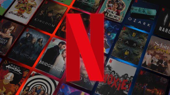 Netflix - logo na tle grafik filmów i seriali