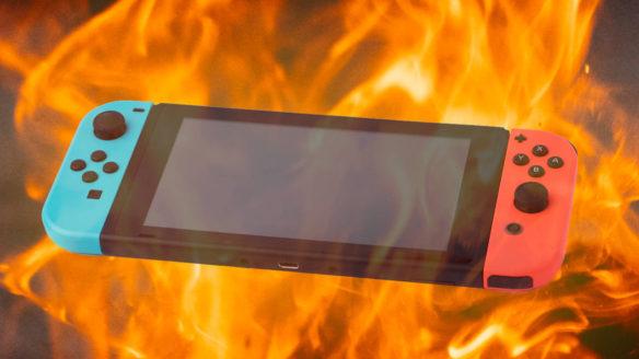 Nintendo Switch w płomieniach