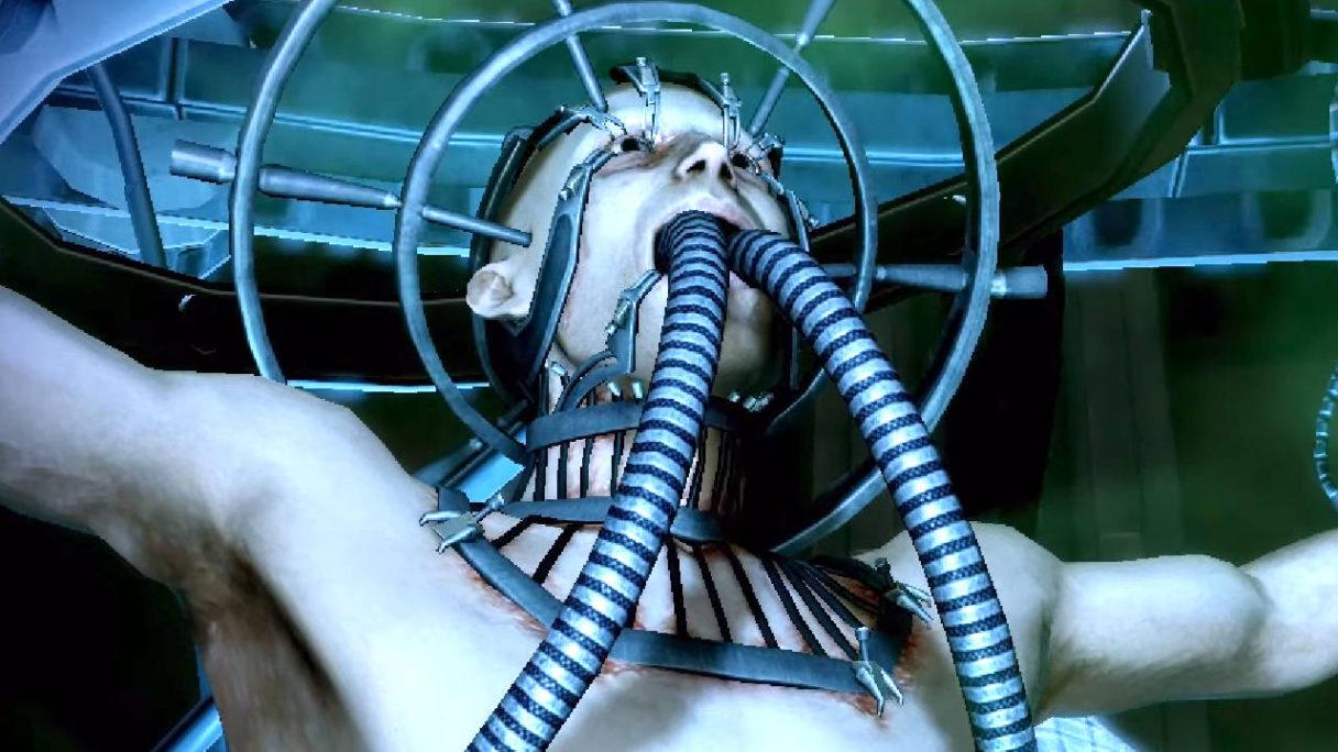 PlayStation Access - kadr z filmiku o 7 losach bohaterów gorszych od śmierci - chłopak z rurkami w gardle zawieszony na maszynie