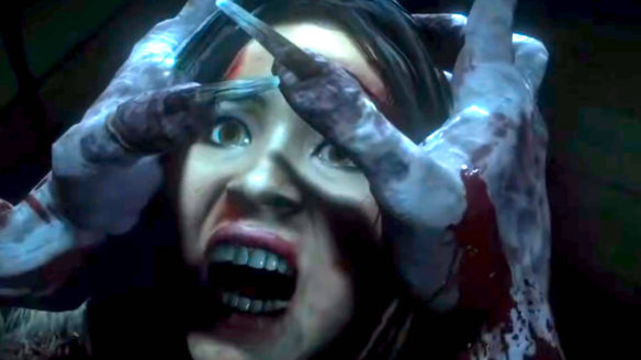PlayStation Access - kadr z filmiku o brutalnych śmierciach, gdzie potwór próbuje wydłubać oczy bohaterce z Until Dawn