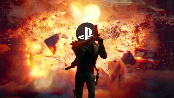 Zrzut ekranu z Deathloop z logo PlayStation