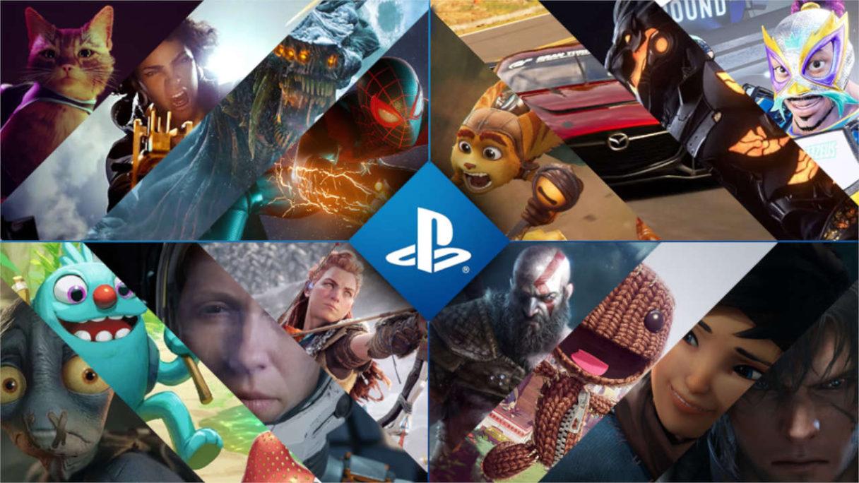 PlayStation - nowe gry, kolaż grafik z najróżniejszymi bohaterami z gier