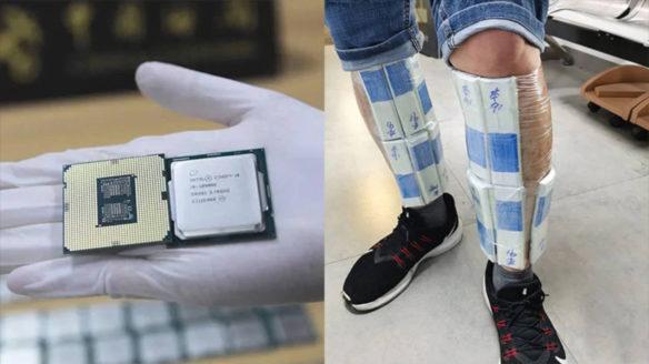 Procesory Intel - Po lewej stronie procesor z obu stron na ręce w białej rękawiczce, po prawej stronie zdjęcie nóg mężczyzny obklejonych taśmą z procesorami