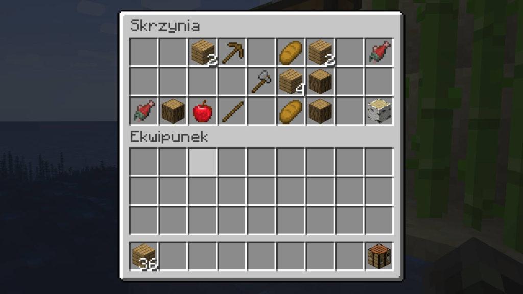 Przykładowa zawartość bonusowej skrzyni - Minecraft