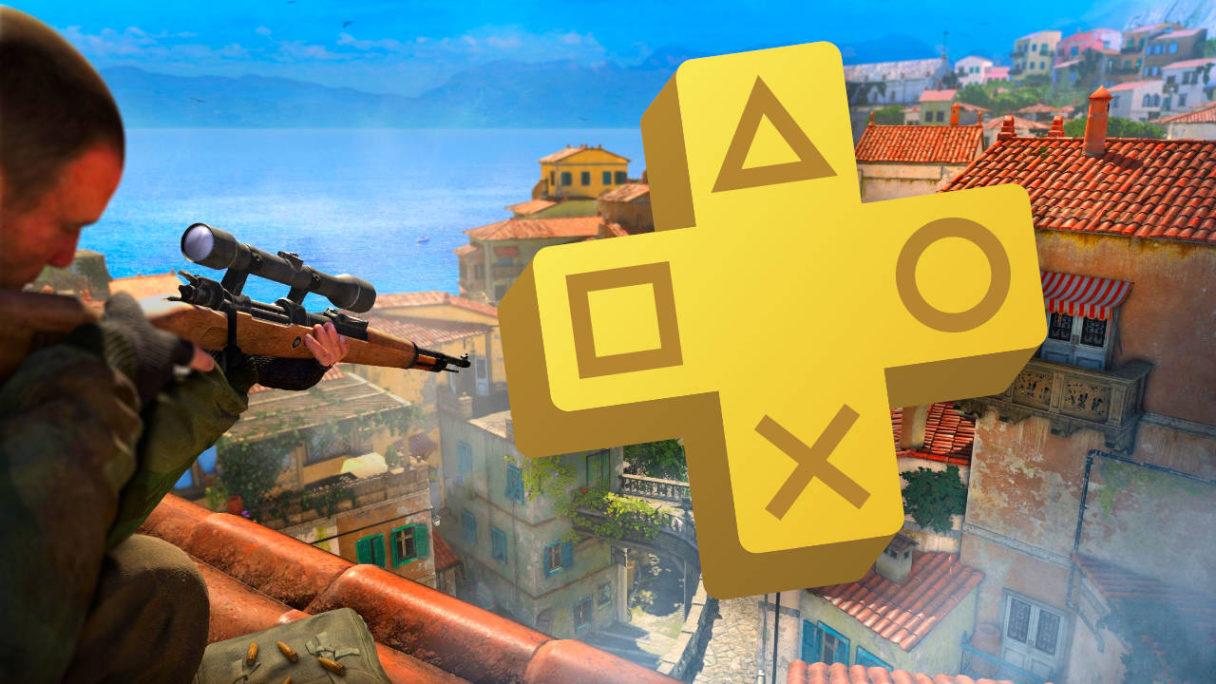 Snajper ze Sniper Elite 4 celuje w kierunku włoskich domków, na grafice ogromne logo PS Plus