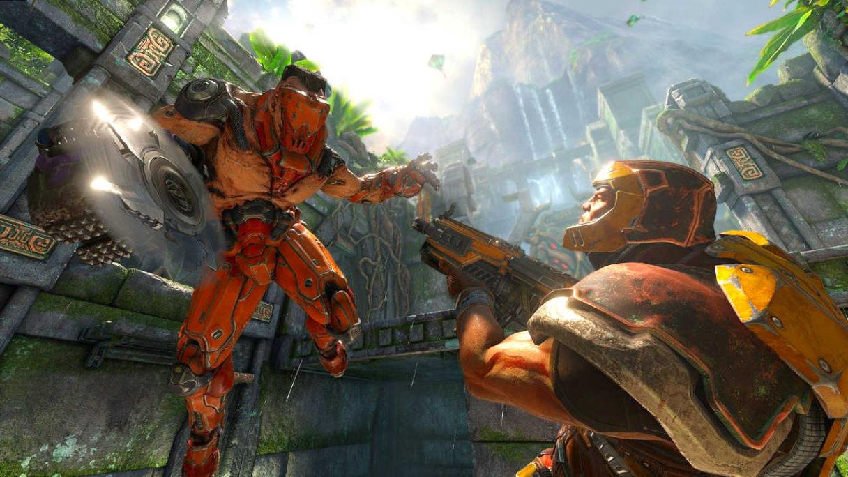 QuakeCon 2021 - dwójka bohaterów walczy ze sobą w Quake Champions