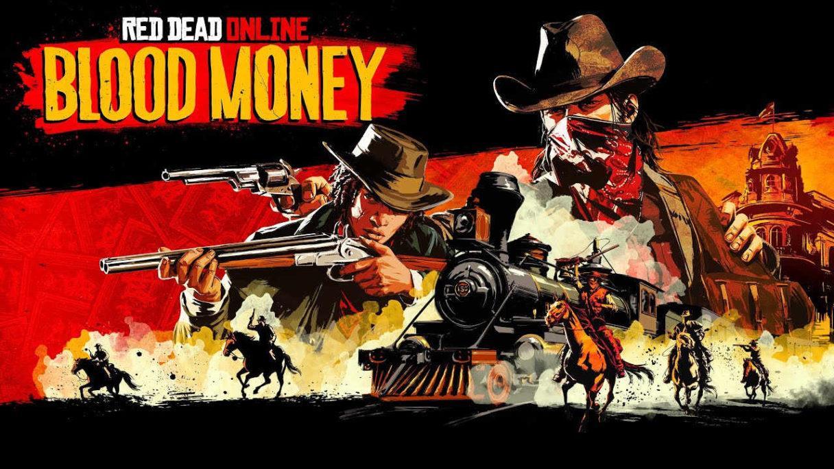 Red Dead Online - grafika promująca dodatek Blood Money, masa kowbojów na tle lokomotywy