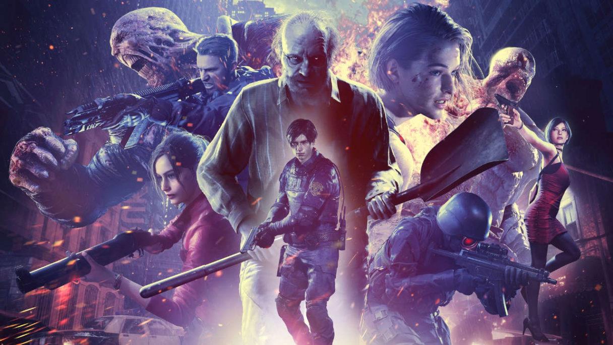 Resident Evil Re Verse - dużo dobrych i złych postaci z broniami - grafika promująca tryb