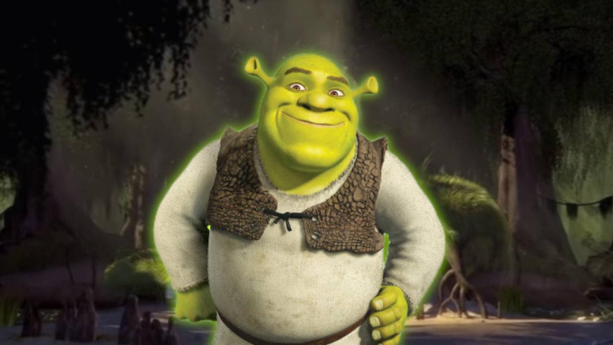 Shrek na tle swojego bagna