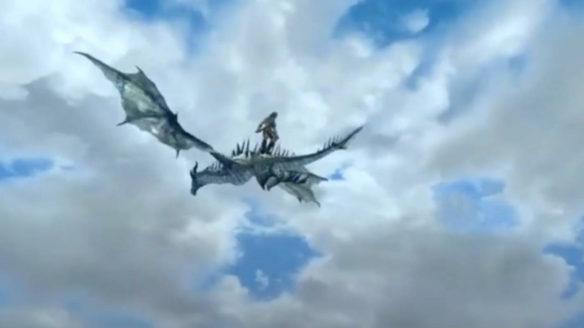 Skyrim - gigant lecący na smoku