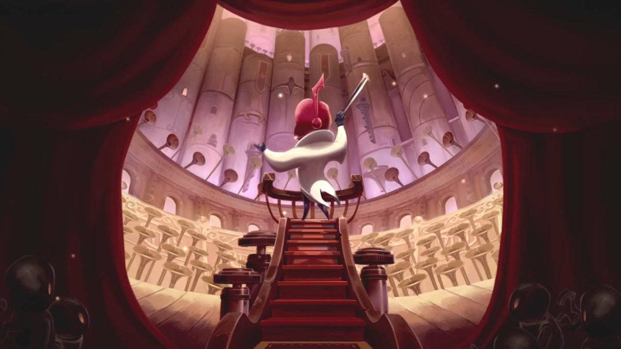 Symphonia - grafika przedstawiająca bohatera gry, który macha smyczkiem